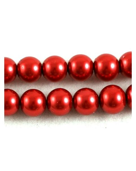 *Clearance* Red Pearl Beads Round 10mm - approx 88pcs