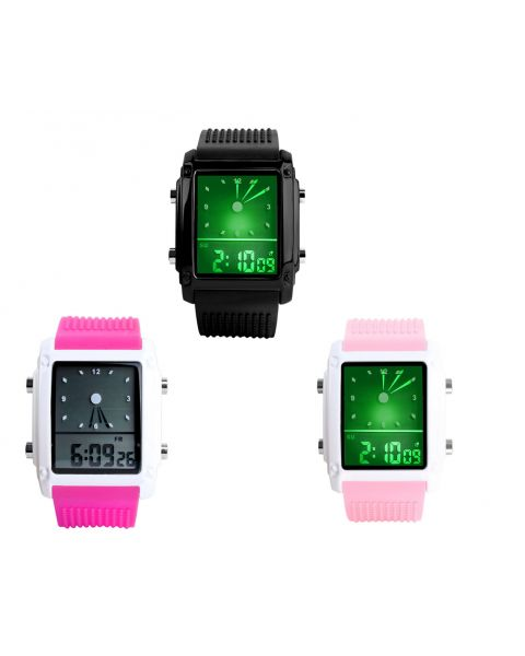 SKMEI Unisex Digital 5 LED Backlight Analog Quartz Waterproof Alarm Wrist Watch