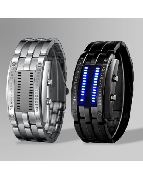 SKMEI Men Waterproof Fashion Stainless Steel Strap LED Binary Display Watch