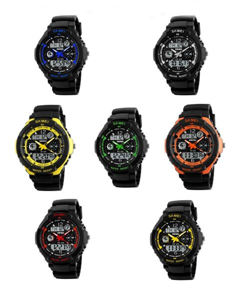 SKMEI Boy Men Waterproof Sport Outdoor Army Alarm Date Digital Black Wrist Watch