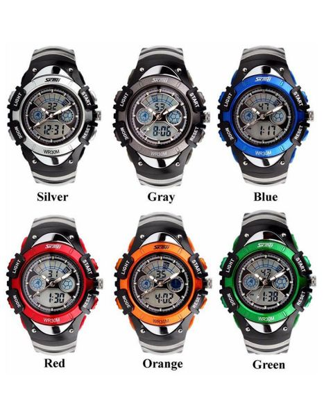 SKMEI Boys Girls Child Kids WaterProof 50m Digital Alarm Dual Time Wrist Watch
