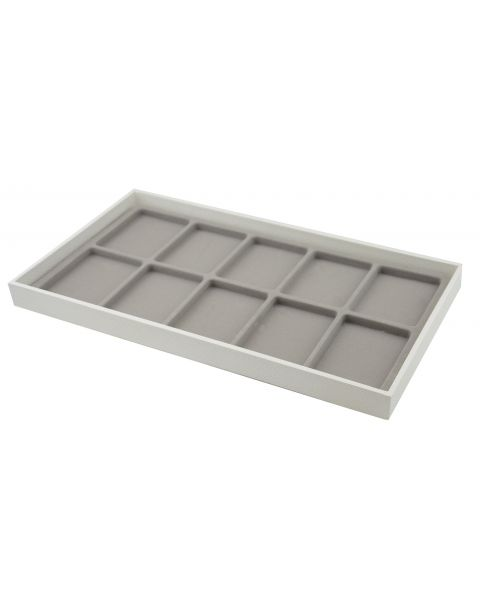 Full Size White 1 Inch Deep Plastic Stackable Utility Display Tray with a Choice of Grey Insert from £3.75