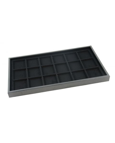 Full Size Black 1 Inch Deep Plastic Stackable Utility Display Tray with a Choice of Black Insert