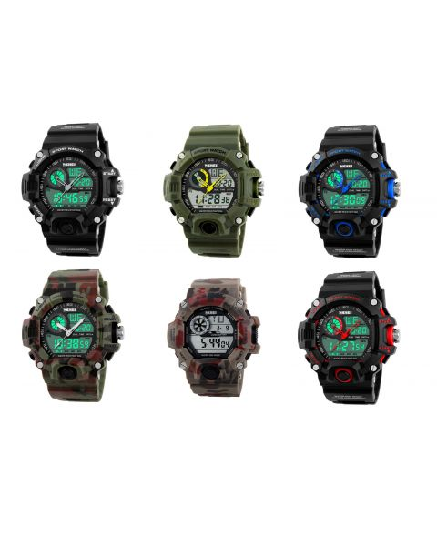 SKMEI Mens Sports Military S Shock Dual Time Timer Date Alarm Quartz Wrist Watch