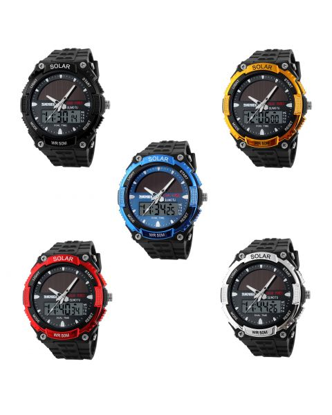 SKMEI Mens Solar Powered Dual Time Multifunction Military Sports Wrist Watch