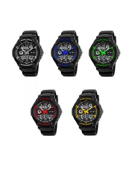 SKMEI LED Dual Time Quartz Backlight Casual Sports Timer Alarm Date Wrist Watch