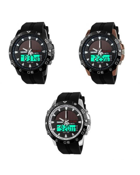 SKMEI Mens Solar Powered Dual Movement Waterproof LED Alarm Date Day Wristwatch