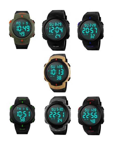 SKMEI Unisex Water Resistant 5ATM Casual Sports Date Alarm Digital Wristwatch