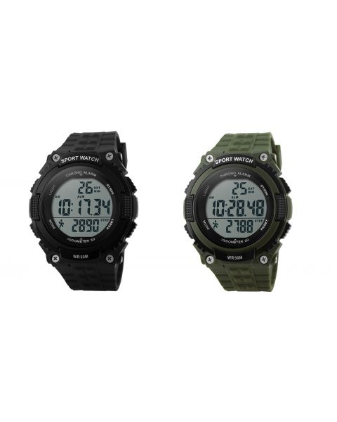 SKMEI Pedometer Mens Digital LED Waterproof Casual Alarm Date Sports Watch