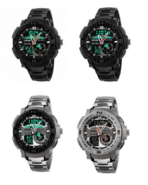 SKMEI Mens Casual Sports Stainless Steel Dual Time Alarm Date LED Wristwatch