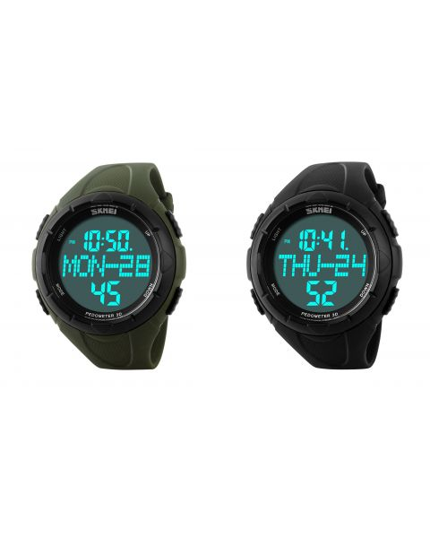 SKMEI Casual Sports Outdoor LED Pedometer Digital Rubber Band Wrist Watch