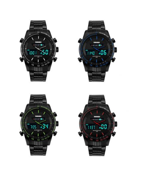 SKMEI Mens Sport Stainless Steel Dual Time LED Display Back Light Wrist Watch