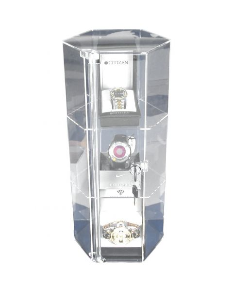 Acrylic Hexagon Revolving Showcase Lockable Cabinet - (BD1142B)