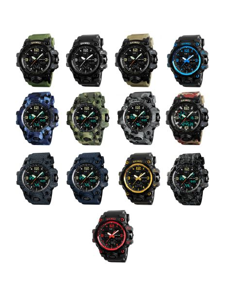 SKMEI S Shock Mens Dual Time LED Timer Quartz Date Waterproof 5ATM Wrist Watch