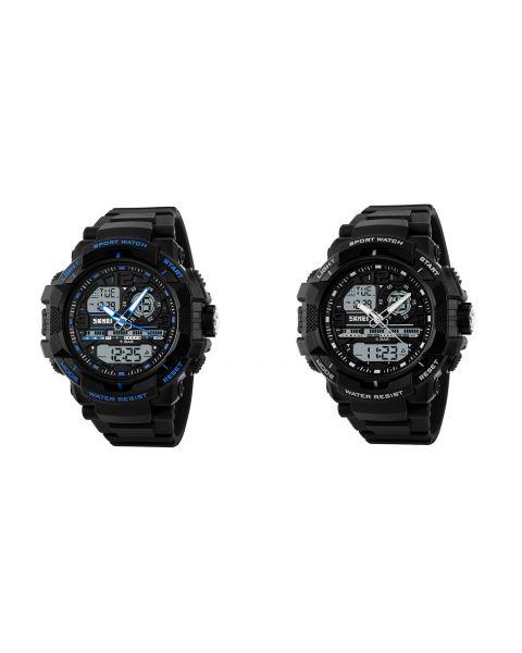 SKMEI Mens Casual Sports Water Resistant 5ATM EL Light Timer Alarm Wrist Watch