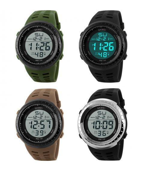 SKMEI Mens Boys Sports Casual Digital EL Light Water Resistant 5ATM Wrist Watch