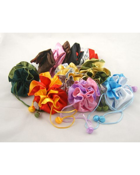 12 x Deluxe Silk Reversible Cinch Pouches - Size Choice