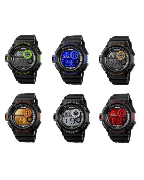 SKMEI Sports Multicoloured LED Back Light Digital Display Alarm Wrist Watch