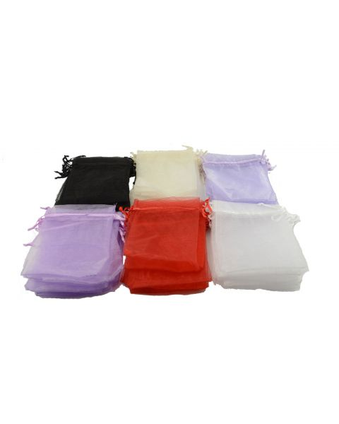Pack of 12 Organza Pouches Colour & Size Choice
