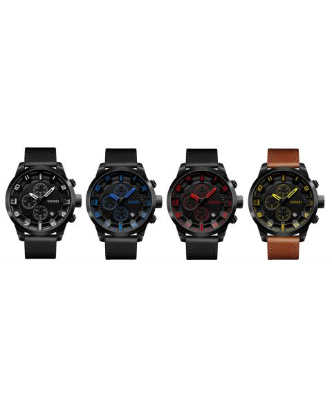 SKMEI Waterproof Quartz Three Dial Stopwatch Leather Strap Analogue Wrist Watch