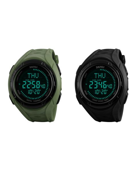 SKMEI Digital Mens Sport Compass Countdown Waterproof 50m Alarm Wrist Watch