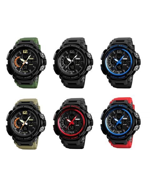 SKMEI Mens Sport 3 Time 12/24hr Chrono 50m Waterproof Alarm EL Light Wrist Watch
