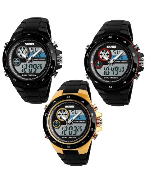 SKMEI Sports Watch Dual Time Alarm Men Digital Analogue Wristwatch Waterproof