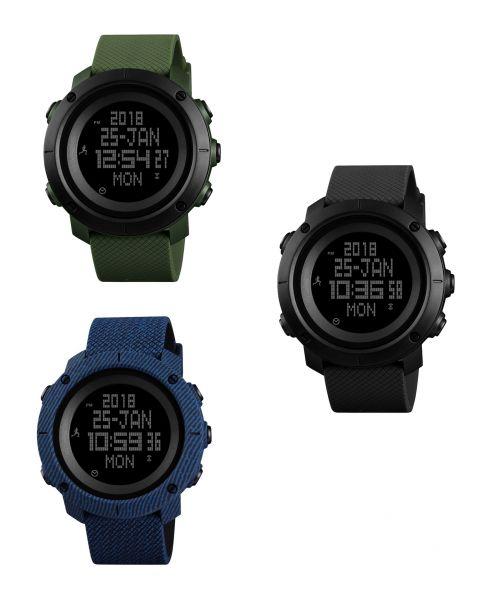 SKMEI Men Women Wristwatch Compass World Time Pedometer Calorie Digital Watch