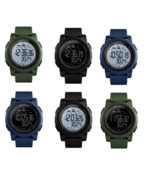 SKMEI Sports Watch Men Digital Mileage Calorie Wristwatch 5Bar Waterproof