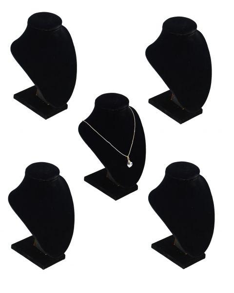 Pack of 5 Black Velvet Busts 17cm Tall