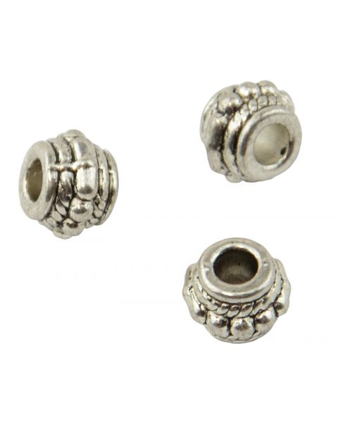Pack of 25 Barrel Metal/Spacer Beads 7x7mm (2-32)