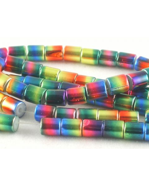 24 pcs Glass Plating Beads Round Tube 7x8mm - from 50p - 45564-37 **CLEARANCE**