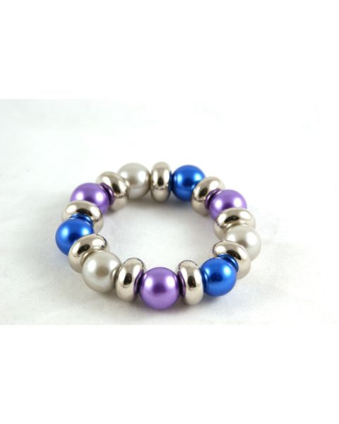 Pack of 12 Glass Pearl & Silver Spacer Bracelets only 25p Each