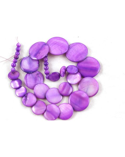 36pcs Purple Flat Round Shell Bead 6-30mm - 45564-140