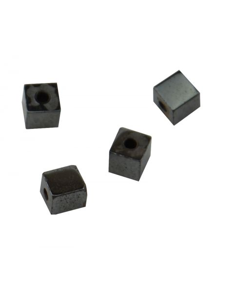 Pack of 50 Hematite 4x4mm Cube Beads (37887-125) from 50p