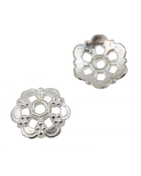 20 Flower Shape Metal Bead Cap 14mm Bright Silver (37887-178)