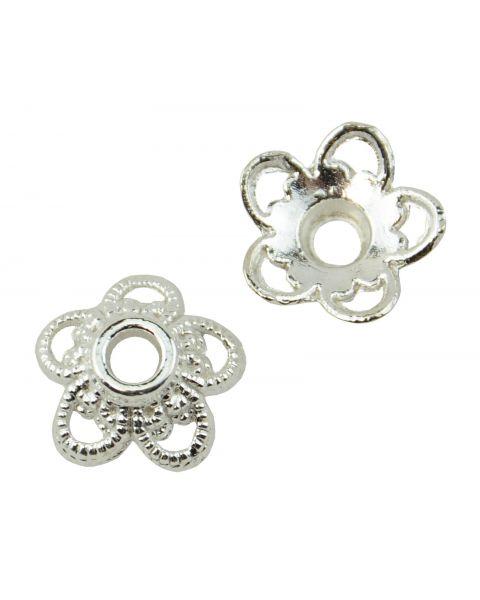 20 Round Flower 5 Petal Metal Bead Cap 11mm Bright Silver (37887-179)