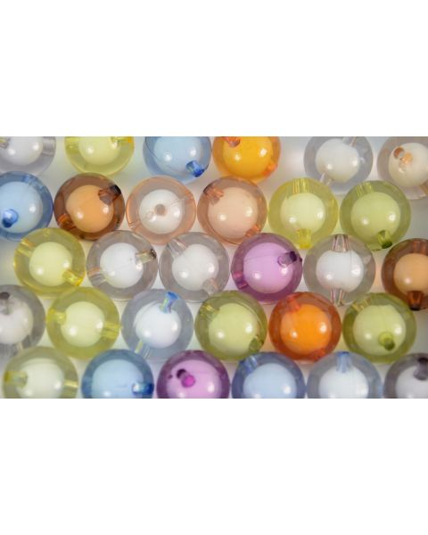 10pcs Round Transparent Mixed Colours with White Cores Acrylic Beads 20mm