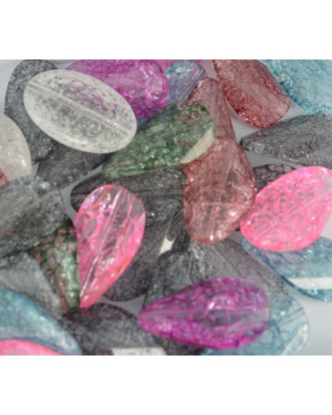 Pack of 10 Large Crackle Acrylic Twist Beads 43mm Assorted Colours