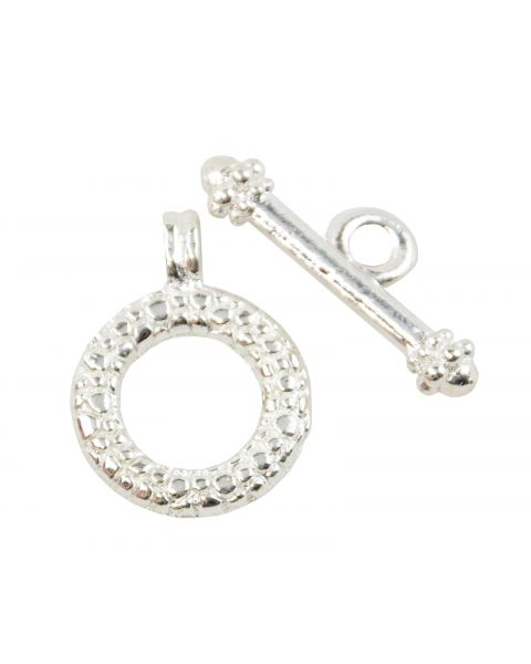 6 Silver Colour Round Dimple Toggles (37887-212)