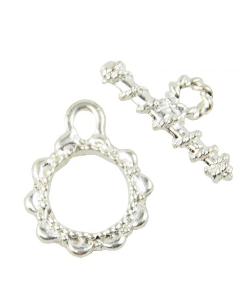 4 x Silver Coloured Round Patteren Toggles (37887-222)
