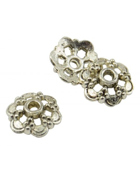 20 Flower Shape Metal Bead Cap 14mm Antiqued Silver (37887-23)