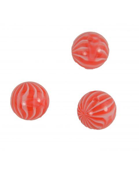 10pcs Round Candy Stripe Pattern Resin Bead (37887-257)