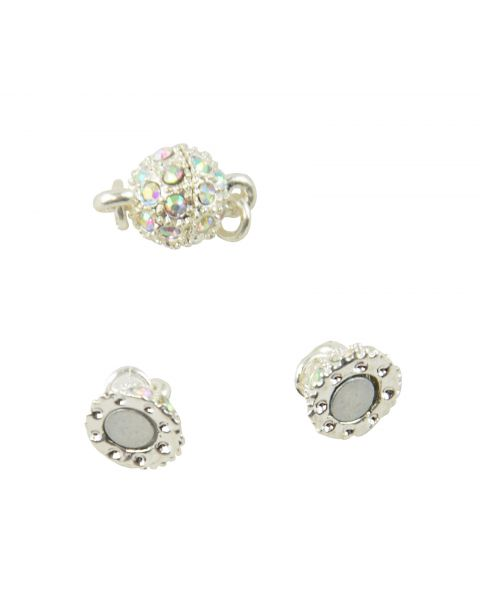 Pack of 2 Magnetic 8mm Round Clasps with Rhinestone (37887-274)