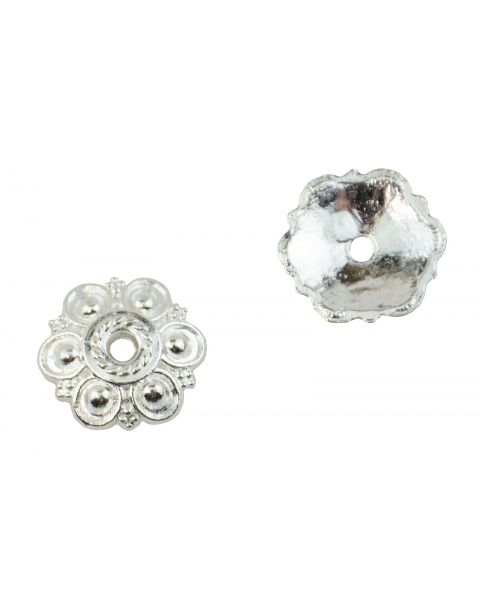 20 Circle Pattern Silver Plated Bead Cap 14mm Findings 37887-89