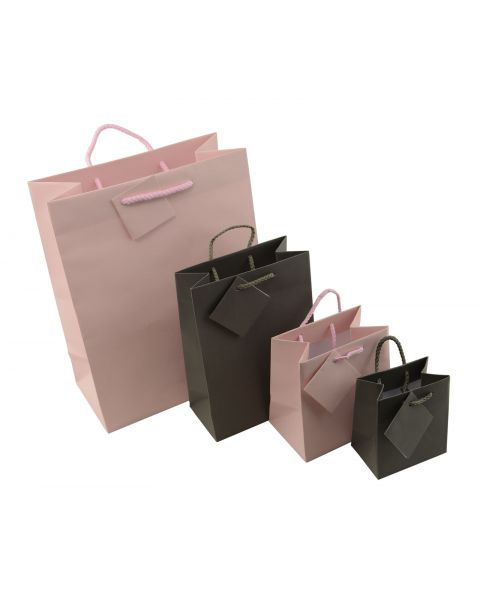 Matt Pink & Steel Grey Drawstring Gift Bags & Tags - Pack of 20 from £5.99