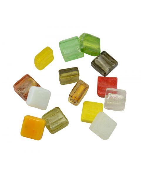 25pcs Coloured Silver Foil Cube Lampwork Beads 4-84