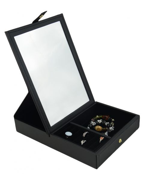 Leatherette Jewellery Box with Mirror, Ring Rolls & 2 Compartments