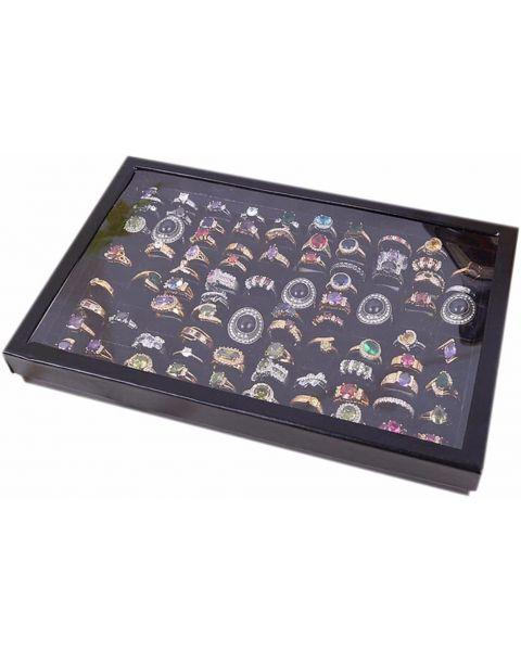 Black 100 Slot Ring Display Tray