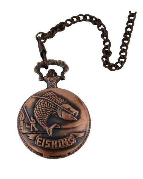 Fishing Full Hunter Pocket Watch with Chain